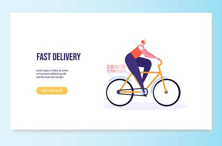 Fast and free delivery by cycle. Courier on bike with parcel box on the back isolated on white background. Delivery work vector illustration in flat design.