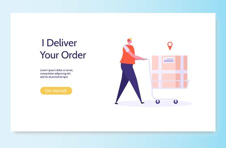 Fast and free delivery by cycle. Courier with  box on the back isolated on white background. Delivery work vector illustration in flat design.