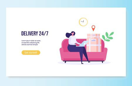 Concept of Fast and free delivery 24/7. People on sofa order food online on white background, courier with cycle. Delivery work vector illustration in flat design. Imagens - 149229880