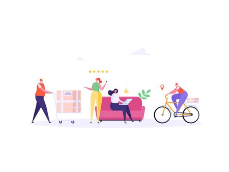 Concept of Fast and free delivery 24/7. People on sofa order online on white background, courier with cycle. Delivery work vector illustration in flat design.