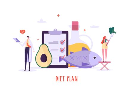 Keto diet vector illustration. Flat tiny slim fit body people concept. Diet plan checklist, training, nutrition control and vegetables, fish, oil. Weight management, individual dietary service design
