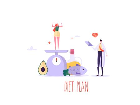 Keto diet vector illustration. Flat tiny slim fit body people concept. Diet plan checklist, doctor diet, training, nutrition control and vegetables, fish, oil. Weight management, individual dietary service design Ilustração
