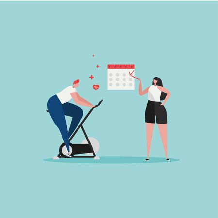 Sport gym, planning fitness vector illustration. Flat tiny slim fit body people training with exercise bike in the gym with schedule. Weight management, individual dietary service design Ilustração