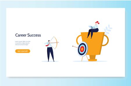 Concept of career, professional growth, supporting employees, coaching, career planning, career development, and team work. Businessmen and employees going to the goal. Vector illustration Ilustração