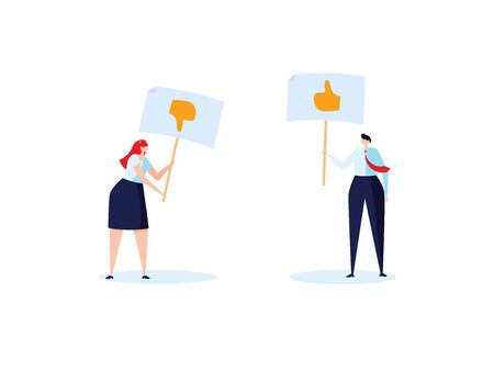Concept of feedback, rating and success. The cople of young man and woman hold the like and dislike in their hand. Vector illustration in flat design