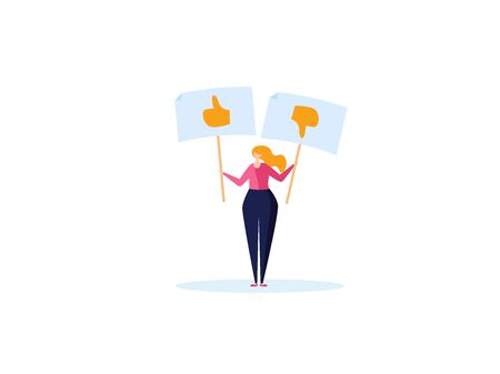 Concept of feedback, rating and success. The young woman holds the like and dislike in her hand. Vector illustration in flat design Ilustração