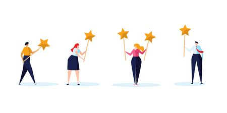 Concept of feedback, rating and success. The group of young people hold the rating stars in their hand. Vector illustration in flat design Ilustração