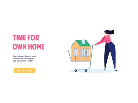 Concept of mortgage, purchase house, real estate, abstract ownership.Isolated young woman buy house with key. Vector illustration in flat cartoon design Imagens - 149565986
