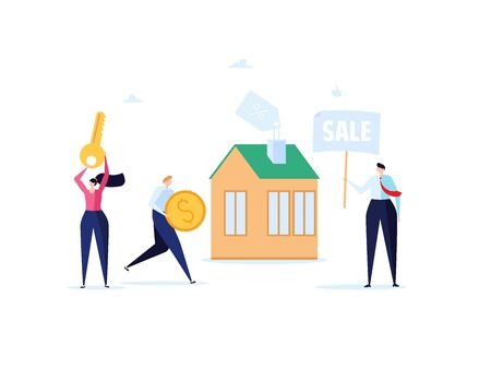 Concept of mortgage, purchase house, real estate, abstract ownership. Family Man and Woman buy house with key. Vector illustration in flat cartoon design Imagens - 149565839