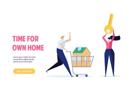 Concept of mortgage, purchase house, real estate, abstract ownership. Family Man and Woman buy house with key. Vector illustration in flat cartoon design Imagens - 149565552