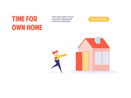 Concept of mortgage, purchase house, real estate, abstract ownership.Isolated young woman buy house with key. Vector illustration in flat cartoon design Ilustração