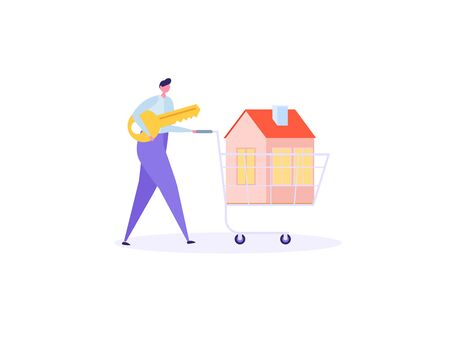 Concept of mortgage, purchase house, real estate, abstract ownership.Isolated young man buy house with key. Vector illustration in flat cartoon design