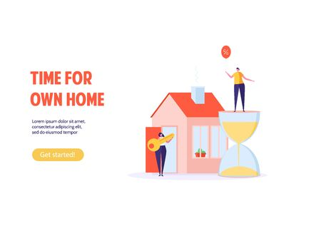 Concept of mortgage, purchase house, real estate, abstract ownership. Family Man and Woman buy house with key. Vector illustration in flat cartoon design
