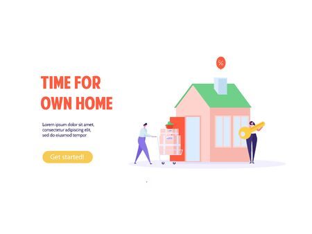 Concept of mortgage, purchase house, real estate, abstract ownership. Family Man and Woman buy house with key. Vector illustration in flat cartoon design Imagens - 149566030