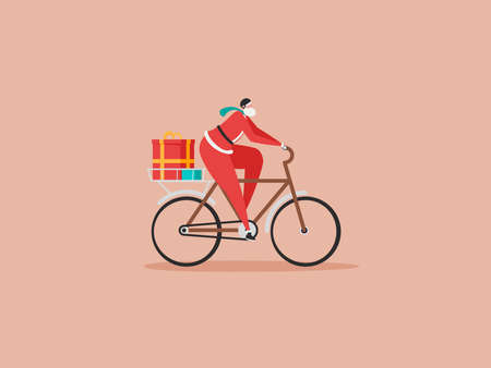 Merry Christmas, The New Year, Happy Holidays concept. The young man or Santa Claus rides a bicycle in helmet and carries gifts. Isolated vector illustration in cartoon design