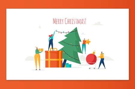 Merry Christmas, The New Year, Happy Holidays concept. Friends or business people decorate Christmas tree and prepare gift boxes outdoors. Vector illustration in cartoon design Ilustração