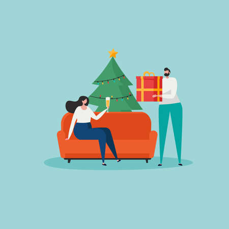 Merry Christmas, The New Year, Happy Holidays concept. Friends or business people celebrate Christmas and prepare gift boxes and Christmas tree. Isolated vector illustration in cartoon design Ilustração