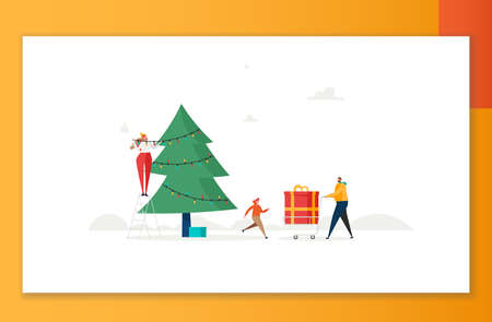 Merry Christmas, The New Year, Happy Holidays concept. Family with children decorate Christmas tree and prepare gift boxes outdoors. Vector illustration in cartoon design