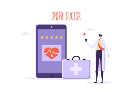 Online doctor, digital medicine, medical service concept. Flat people doctors stand and run with smartphone. Vector illustration in flat cartoon design