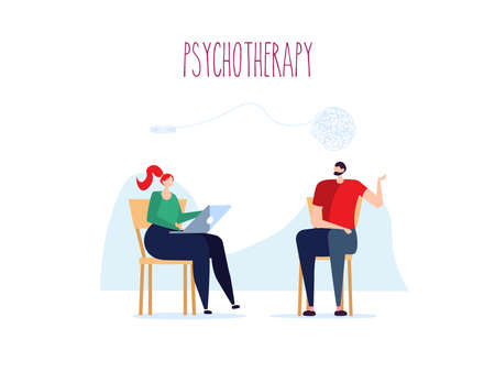 Psychotherapy session, psychological consultation and abstract problems concept. Woman psychologist advises patient on chair. Vector illustration in cartoon design