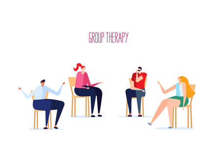 Group psychotherapy session, psychological consultation and abstract problems concept. Different people solve psychological problems on chairs. Vector illustration in cartoon design