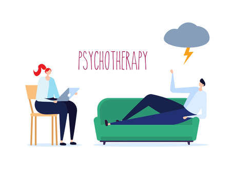Psychotherapy session, psychological consultation and abstract problems concept. Woman psychologist advises patient on sofa Vector illustration in cartoon design