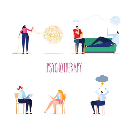 Psychological set. Psychotherapy session, psychological consultation and abstract problems concept. Woman psychologist advises patient on chair. Vector illustration in cartoon design