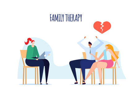 Family psychotherapy session, psychological consultation and abstract problems concept. Woman psychologist advises couple of man and woman on chairs. Vector illustration in cartoon design