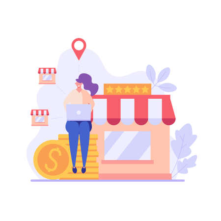 Businessman sitting and buying a franchise. Buying a finished business. Concept of business industry, franchising, bizopp, distribution. Vector illustration in flat design.