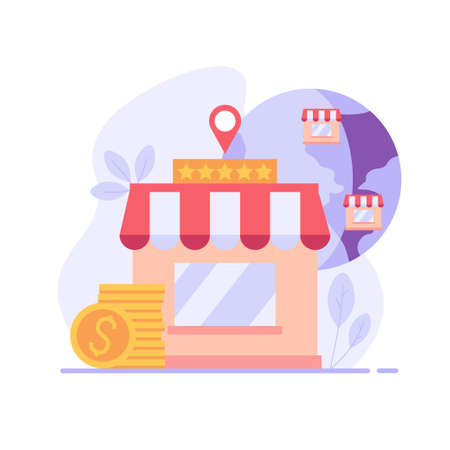 Ready business for a franchise. Buying a finished firm or brand. Concept of business industry, franchising, bizopp, distribution. Vector illustration in flat design.