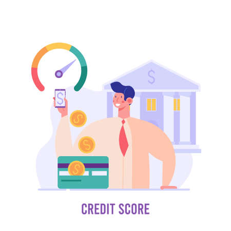 Man stands with mobile and checks the credit score. Concept of banks, dispensing money, credit report, mortgage, payment history, cash. Vector illustration in flat design.