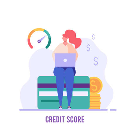 Woman sitting with laptop and checks the credit score. Concept of banks, dispensing money, credit report, mortgage, payment history, cash. Vector illustration in flat design.
