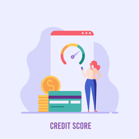 Woman stands and checks the credit score. Concept of banks, dispensing money, credit report, mortgage, payment history, cash. Vector illustration in flat design.