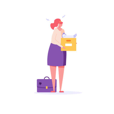 Woman stands with a box of things, she was fired from job. Concept of unemployment, fired, work conflict, dismissal, professional burnout. Vector illustration in flat design