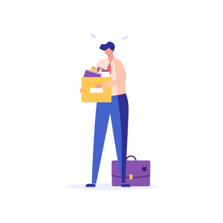 Man stands with a box of things, he was fired from job. Concept of unemployment, fired, work conflict, dismissal, professional burnout. Vector illustration in flat design