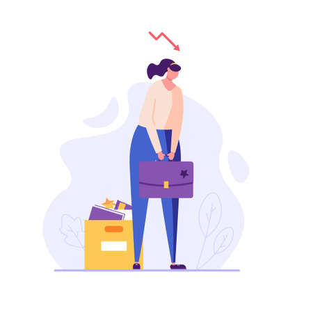 Woman stands with a bag, he was fired from job. Concept of unemployment, fired, work conflict, dismissal, professional burnout, unsuccessful career. Vector illustration in flat design