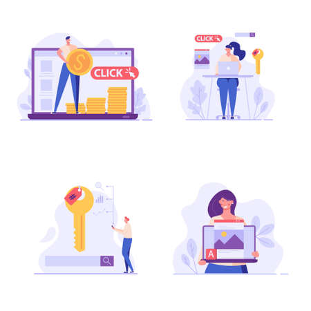 Advertising managers making money with PPC campaign. Pay per click management. Collection of SEO, digital marketing, internet contextual advertising. Set of vector illustration in flat design Ilustração
