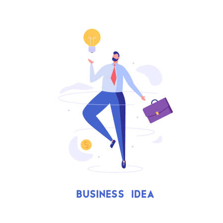 Businessman fly with lamp and brief-bag. Concept of business idea, creativity, innovation, modern trends, improvement, way to get rich. Vector illustration in flat design