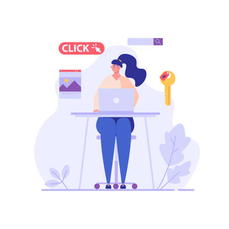 Advertising manager making money with PPC campaign. Pay per click management. Concept of SEO, digital marketing, internet contextual advertising. Vector illustration in flat design for web banner