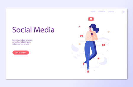 Woman flying, work in smm. Concept of work online, remote work, social media marketing, social network, modern trends, creativity, mobile marketing, like and repost. Vector illustration in flat design