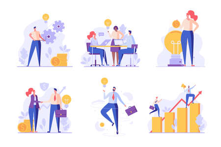 Successful business team set. Team of employees making project on time. Collection of teamwork, success career, project management, team thinking. Vector illustration in flat design for UI, web banner