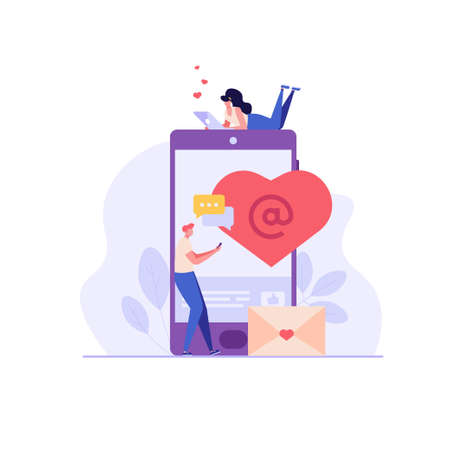Concept of online dating, virtual love and distance relationship. Young couple of man and woman meeting online. Vector illustration in flat design, can use for landing page, template, ui, web Vecteurs
