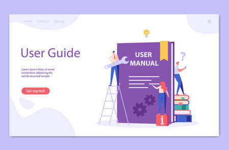 People read user manual book. Managers reading and writing guide instruction. Concept of customer guide, useful information, technical document. Vector illustration in flat design for UI, web banner