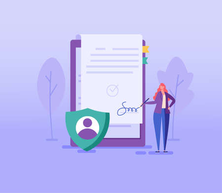 Woman signing user agreement. Concept of terms and conditions, privacy policy, remote transaction, protection of personal data, account security. Vector illustration in flat design