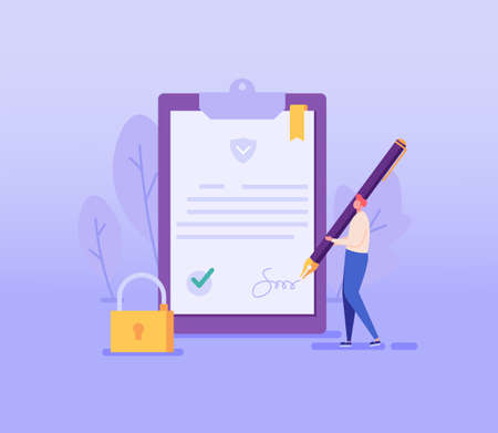 Man signing contract. Concept of terms and conditions, privacy policy, user agreement, electronic signature, remote transaction, protection of personal data. Vector illustration in flat design
