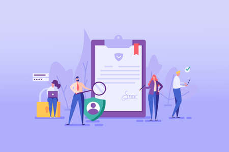 Set with people who signing document, protecting personal date, remitting transaction, checking documents. Concept of account security, privacy policy, user agreement. Vector illustration in flat