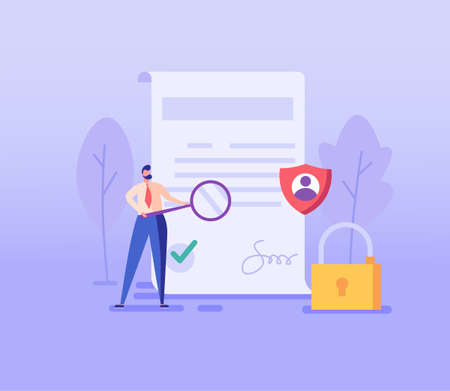 Man inspecting document. Concept of terms and conditions, search for errors, bugs privacy policy, protection of personal data, account security. Vector illustration in flat design