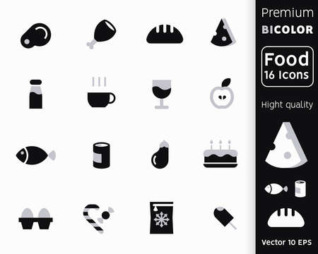 Bicolor Icons Food Products. Bread, Meat and Vegetables Icon set. Icons for Grocery Shopping, Food Store, Confectionery and Menu. Collection of eggs, tea, sheese, alcohol. Vector illustration