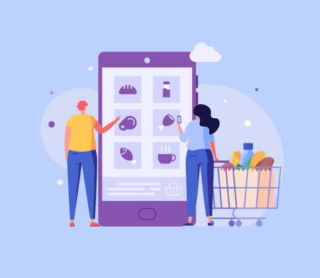 People with Shopping Cart Choosing and Buying Food Products in Mobile App. Online Grocery Store. Concept of Online Grocery Shopping, Food Order, Online Supermarket. Vector illustration for Mobile App