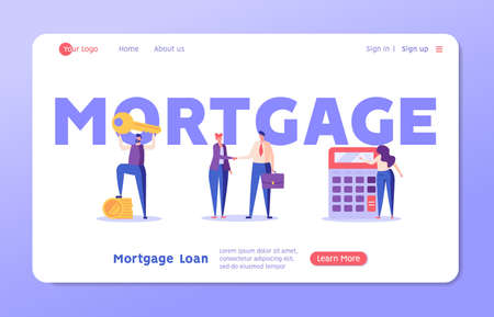 Man Buying House with Key, Shaking Hands with Real Estate Agent, Woman Calculating Mortgage Rates. Concept of Mortgage Loan, Real Estate Property, Home for Sale. Vector illustration for Landing Page Ilustração